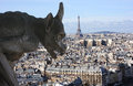 Gargoyle on Notre-dame cathedral in Paris looking at the Eiffel t Royalty Free Stock Photo