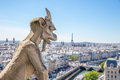 Gargoyle at notre dame paris stryge and demon of overlooking the skyline a summer day selectice focus Stock Photography