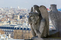 Gargoyle of the roof of cathedral notre dame paris wit architectural fragment in foreground taken from Royalty Free Stock Images