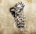Gargoyle and totem tattoo art hadmade sketch over vintage paper Stock Photos