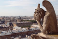 Gargoyle a view on a paris from gallery gargoyles at notre damme de paris Royalty Free Stock Images