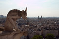Gargoyle a view on a paris from gallery gargoyles at notre damme de paris Stock Images