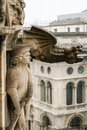 The gargoyles of the cathedral the duomo and other architectural elements Royalty Free Stock Photo