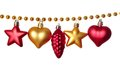 Garland gold beads with different christmas baubles isolated on white background Stock Photography