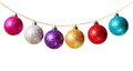 Garland gold beads with multicolored christmas baubles isolated on white background Stock Photos