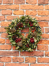 Garland with green leaves and berries Royalty Free Stock Photography