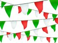 Garland with green white and red pennants bulbs on black background