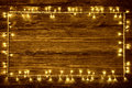 Garland Lights Wood Background, Holiday Wooden Frame Planks Royalty Free Stock Photo