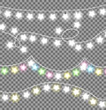 Garland Ropes with Bulbs on Transparent Background