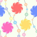 A garland of stylized flowers and colored beads on a pastel background. Seamless vector pattern