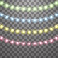 Garlands, Christmas decorations lights effects. Isolated vector design elements. Glowing lights for Xmas Holiday