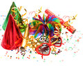 Garlands, streamer, cracker, party glasses and confetti Stock Photos