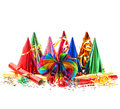 Garlands, streamer, party hats and confetti Royalty Free Stock Image