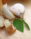 Garlic with bread Royalty Free Stock Photos
