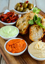 Garlic bread served with mint and salsa dip Royalty Free Stock Photo
