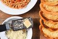 Garlic Bread Spaghetti Parmesan Cheese Royalty Free Stock Photo