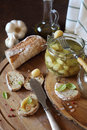 Garlic confit and franch topped bread Royalty Free Stock Photo