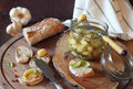 Garlic confit and french bread topped Royalty Free Stock Photo