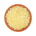 Garlic flakes with sea salt in bowl Royalty Free Stock Image