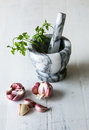 Garlic with marble mortar with parsley Royalty Free Stock Photo