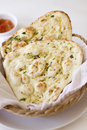Garlic naan flatbread two pieces of herbed Stock Photo