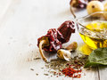 Garlic olive oil and spice close up Royalty Free Stock Photo