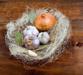 Garlic, onion and bay leaf Stock Photos