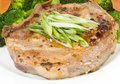 Garlic Pork Chop and Broccoli Royalty Free Stock Photo