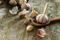 Garlic on a wooden background