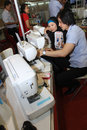 Garment equipment on display at a convention center in the city of solo central java indonesia Stock Photos
