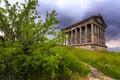 Garni pagan temple among the green vegetation armenia Stock Photos