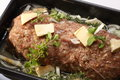 Garnished minced beef roast closeup of a mince prepared in a cooking tray Royalty Free Stock Image