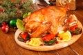 Garnished roasted turkey Stock Photo