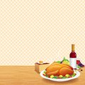 Garnished roasted turkey decorated table wine fruits pie illustration Stock Images