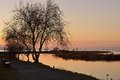 Garry point park winter sunset richmond bc Royalty Free Stock Image