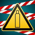 Gas bottle. Attention is dangerous. Warning sign. Barrier tape. Striped red white tape. Safety technology. Yellow Royalty Free Stock Photo
