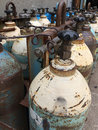 Gas bottles used old with propane butane Royalty Free Stock Image