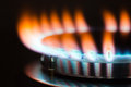 Gas burner flame burning in the of oven Stock Image