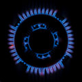 Gas burner flame domestic natural circular hob Royalty Free Stock Images
