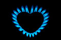 Gas burner form heart hot heart concept Royalty Free Stock Images