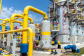 Gas compressor station in ukraine in bright sunny summer day Royalty Free Stock Photo