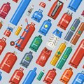 Gas cylinder vector lpg gas-bottle and gas-cylinder illustration set of cylindrical container with liquefied compressed Royalty Free Stock Photo