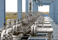 Gas equipment valves on a natural pipeline Royalty Free Stock Photos