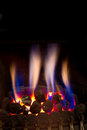 Gas fire burning strongly inside a modern home Royalty Free Stock Photos