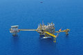 The gas flare is on the oil rig platform in gulf of thailand aerial view Royalty Free Stock Images