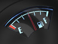 Gas gage with the needle indicating a middle fuel tank concept Stock Images