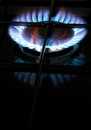 Gas hob cook with blue flame domestic burner Royalty Free Stock Photos