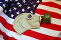 Gas mask and American flag Royalty Free Stock Photography