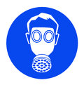 Gas mask blue industrial warning signs Stock Images