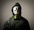 Gas mask man wearing a on his face Royalty Free Stock Photography
